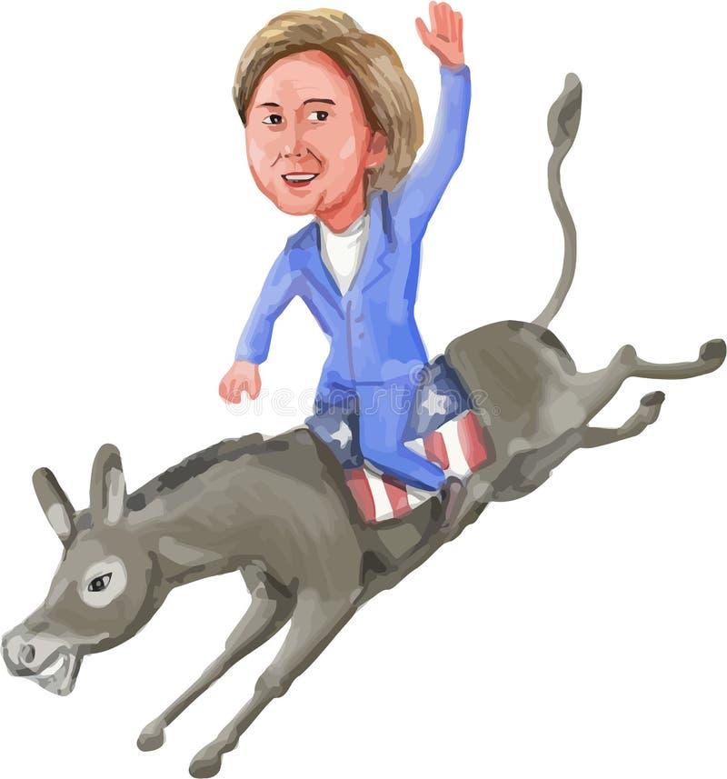 Hillary Clinton Riding Democrat Donkey Caricature stock de ilustración