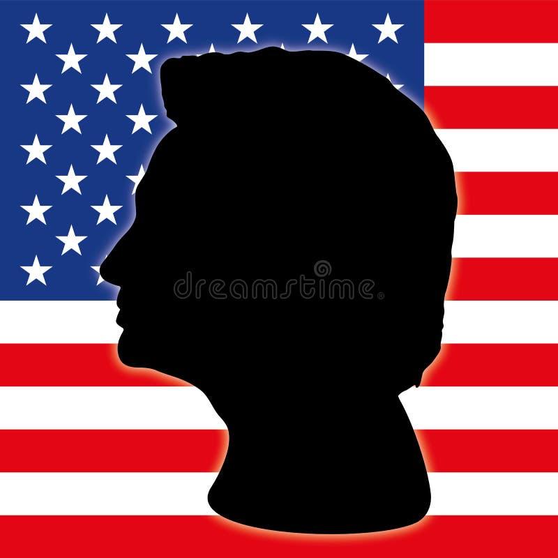 Hillary Clinton sylwetka z USA flaga royalty ilustracja