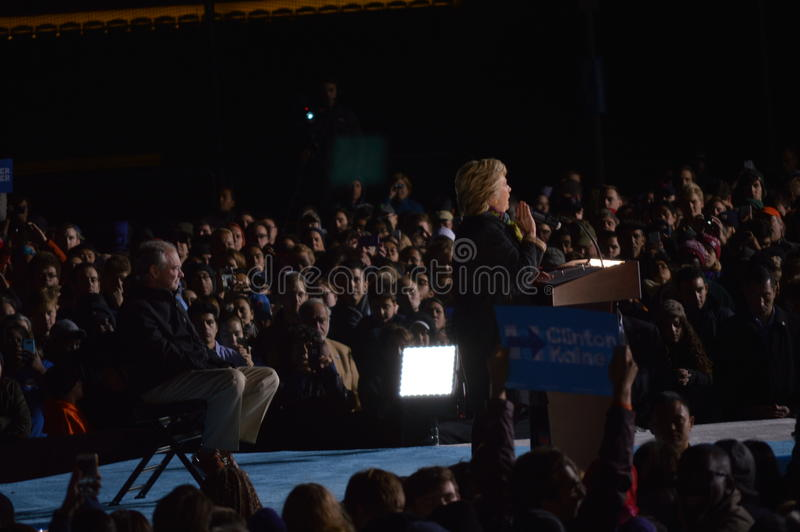 Hillary Clinton and Tim Kaine Campaigning. Picture of Hillary Clinton and Tim Kaine on stage in Philadelphia at the University of Pennsylvania campaigning stock photos