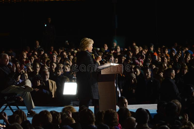 Hillary Clinton and Tim Kaine Campaigning. Picture of Hillary Clinton and Tim Kaine on stage in Philadelphia at the University of Pennsylvania campaigning royalty free stock images