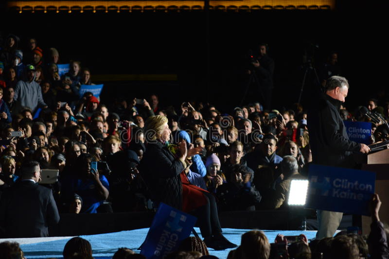 Hillary Clinton and Tim Kaine Campaigning. Picture of Hillary Clinton and Tim Kaine on stage in Philadelphia at the University of Pennsylvania campaigning stock photo