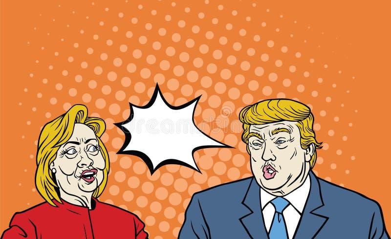 Hillary Clinton Versus Donald atutu debaty wystrzału sztuki rocznika komiczki styl ilustracja wektor