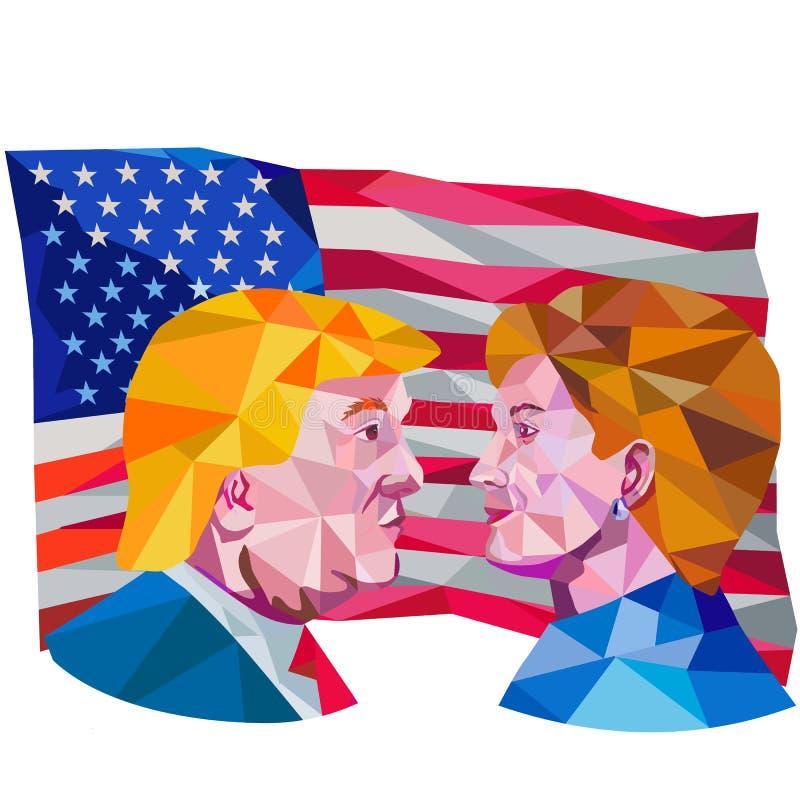 Hillary Clinton Vs Donald atutu depresji wielobok royalty ilustracja