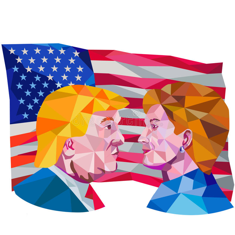 Hillary Clinton Vs Donald Trump Low Polygon. Illustration showing Republican Donald Trump versus Democrat Hillary Clinto face-off for American president with USA royalty free illustration