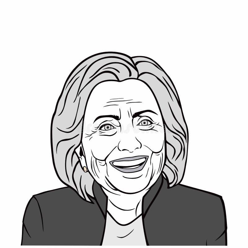 Hillary Clinton Wektorowa sztuka, Czarny I Biały, Wektorowa projekt ilustracja, royalty ilustracja