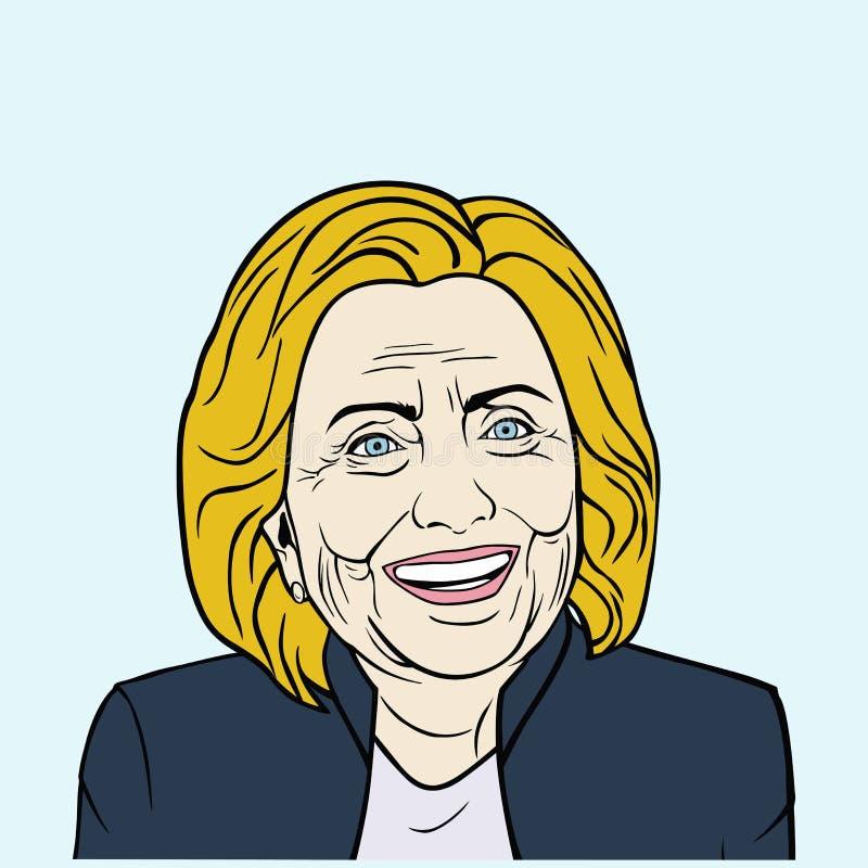 Hillary Clinton, wystrzał sztuki Płaski projekt, Wektorowa ilustracja royalty ilustracja
