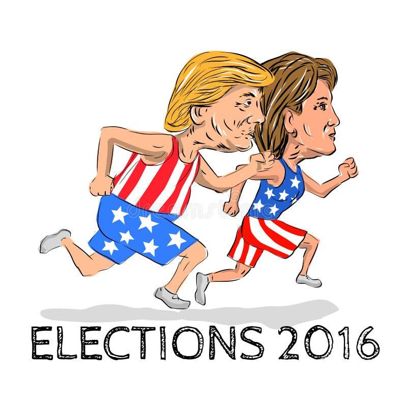 Hillary e trunfo corridos para o presidente Eleição 2016 ilustração do vetor
