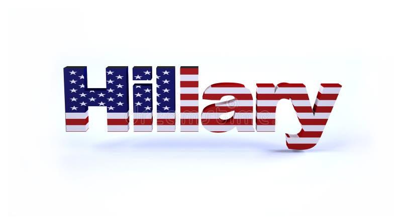 Hillary znak z flaga amerykańską ilustracja wektor
