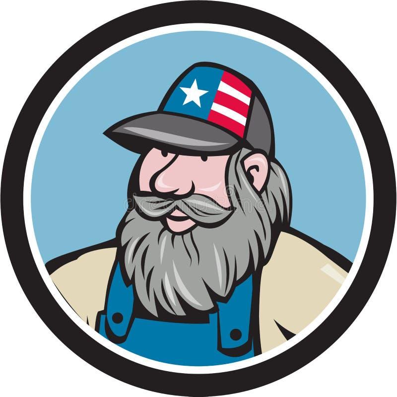 Hillbilly Man Beard Circle Cartoon royalty free illustration