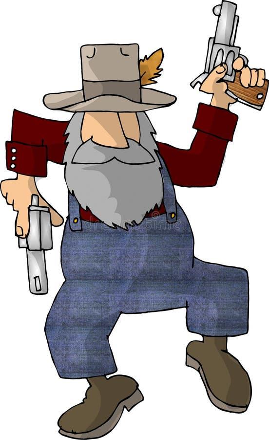 Hillbilly met twee pistolen royalty-vrije illustratie