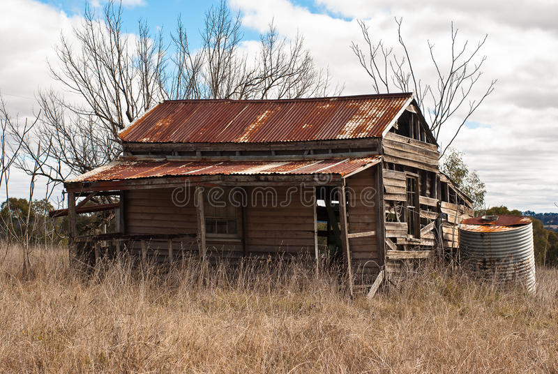 Hillgrove Hut. Abandoned cabin in ruins old mining town royalty free stock images