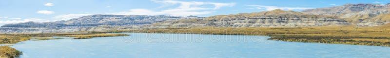 Hills along river La Leona in Argentina stock photo
