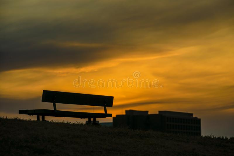 The hills of the bench of Musashino Forest Park. Shooting location :  Chofu, Tokyo royalty free stock photos