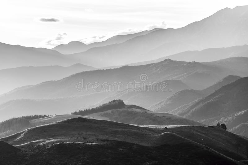 Hills of Canterbury near Hanmer Springs in black and white, New stock image