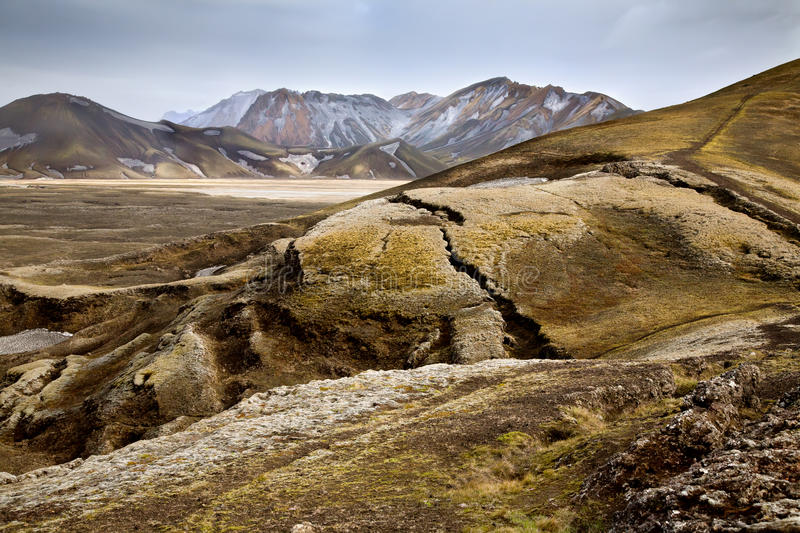 Hills covered with moss in Landmannalaugar. Iceland stock image