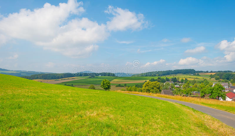 Hills of the Eifel National Park in sunlight. Hills of the Eifel National Park in summer royalty free stock image