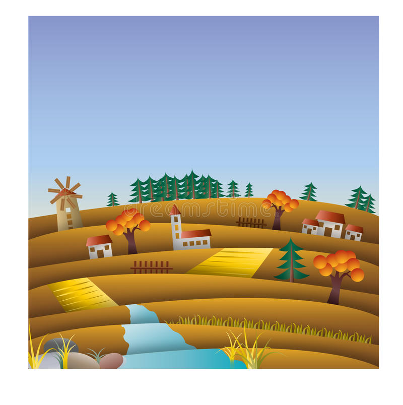 Hills and fields in autumn, fall, landscape illustration with mill. Also summer version available vector illustration