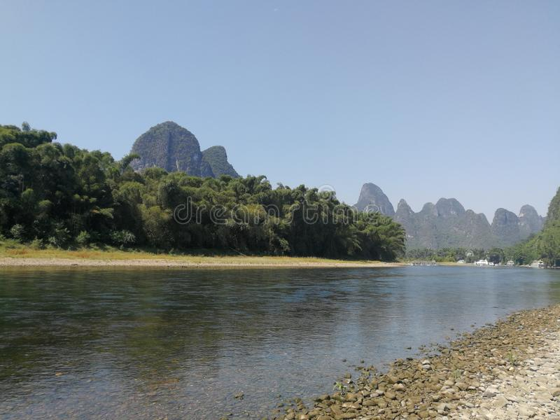 The hills of Guilin. Guilin landscape is the best in the world, a mount flat and rise, sigh the infinite charm of nature stock photo