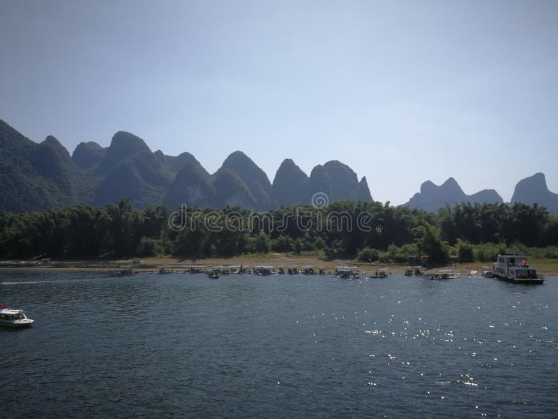 The hills of Guilin. Guilin landscape is the best in the world, a mount flat and rise, sigh the infinite charm of nature stock image