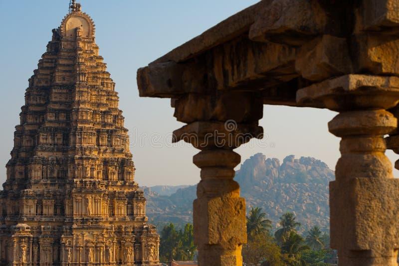 Hills Hampi Temple Stone Carving Column royalty free stock photos