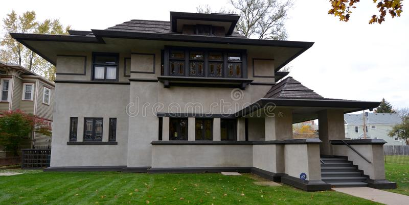 Hills' House. This is a Fall picture of the Edward R. Hills' House located in Oak Park, Illinis. The house was designed by Frank Lloyd Wright, is an example of royalty free stock images