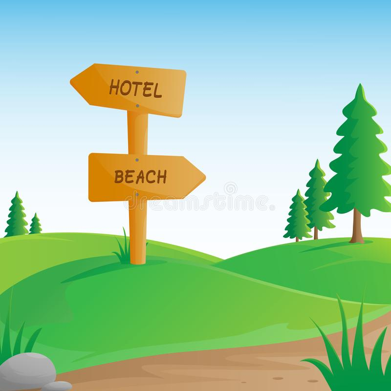 Hills landscape with wooden signboard. Nature scenery with green hills, wooden signboard, pine trees, rocks, pathway and grass in countryside royalty free illustration