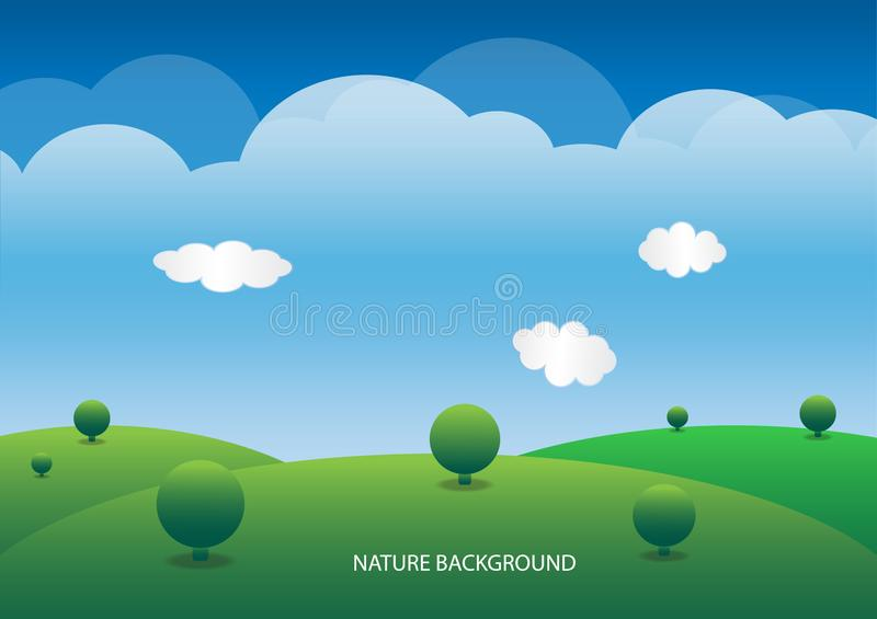 Hills, lush green and sky background vector. General illustration royalty free illustration