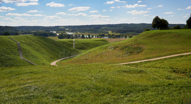 Hills meadow stock images