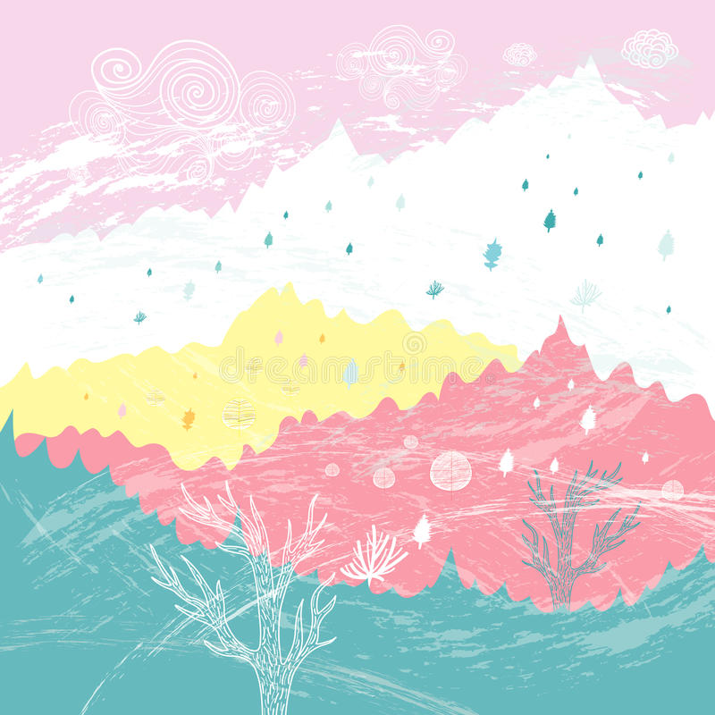 Hills and mountains royalty free illustration