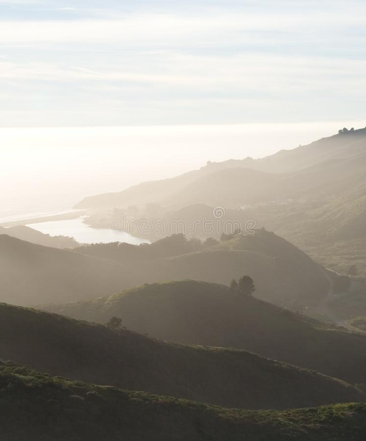 Hills and ocean royalty free stock photo