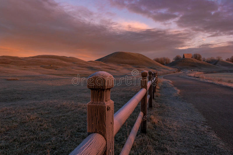 Hills and pathway at sunrise royalty free stock images