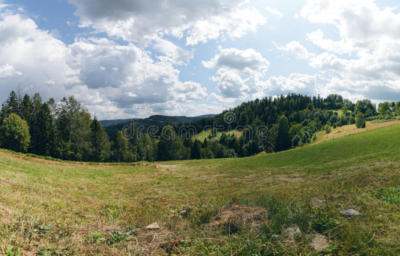 Hills of Polish Beskids in summer day. Near Wisla royalty free stock images