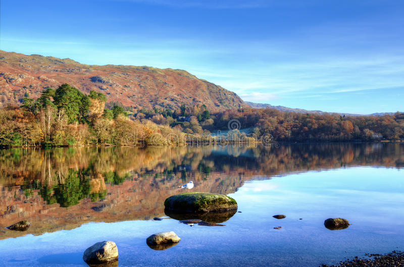 Hills reflected in Grasmere royalty free stock photo