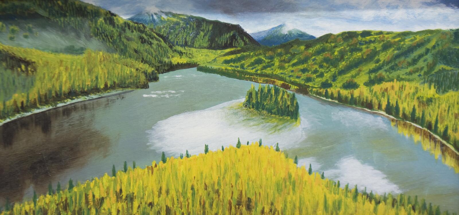 Hills and river, painting royalty free stock photos