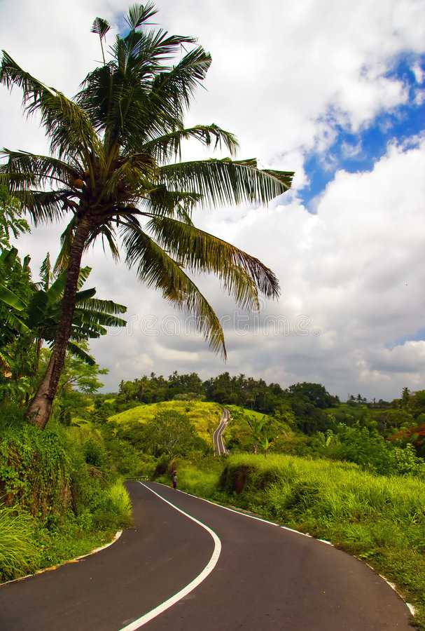Hills and roads in center of Bali royalty free stock photos