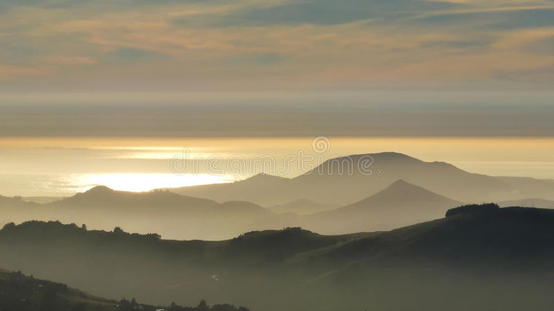 Hills and Sea in the Morning stock image