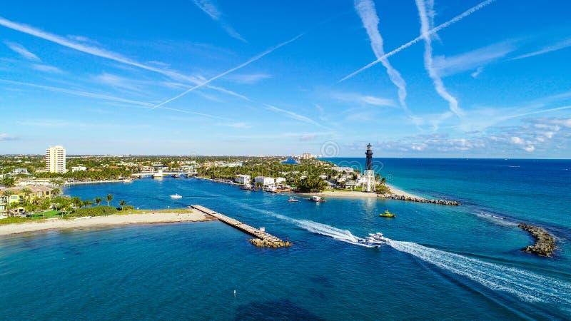 Hillsboro入口灯塔在希尔斯波罗海滩,佛罗里达,美国 库存图片