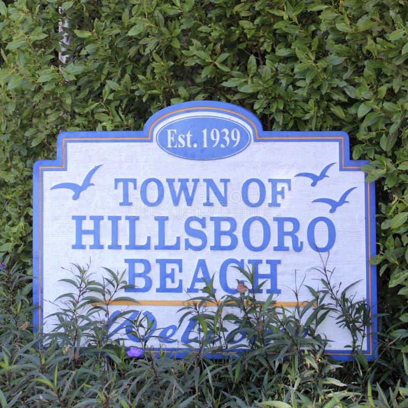 Hillsboro海滩标志镇  免版税库存照片