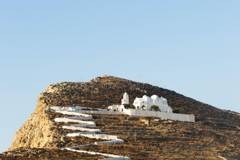 Hillside Church at Folegandros. Greece royalty free stock image