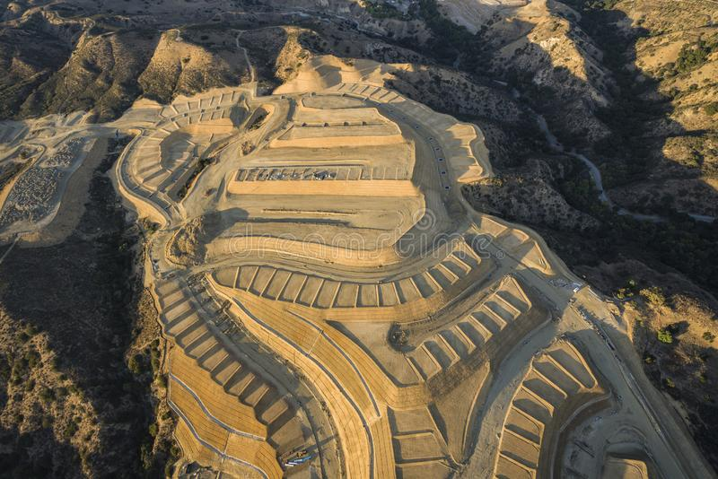 Hillside Construction Grading in Los Angeles California. Aerial view of hillside construction grading above the San Fernando Valley in Los Angeles, California royalty free stock photography