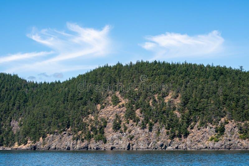 Hillside a couvert dans les arbres à feuilles persistantes sur une île rocheuse, des nuages bleus et des nuages gonflés blancs re photographie stock