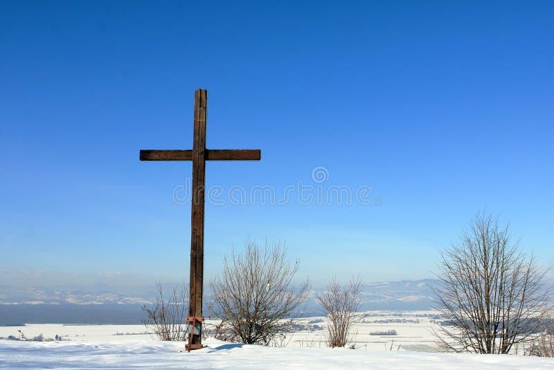 Hillside cross royalty free stock images