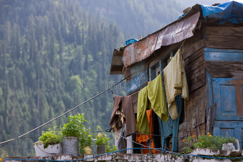 Hillside Dwelling. Local dwelling in the hillside in Manali, India stock photo