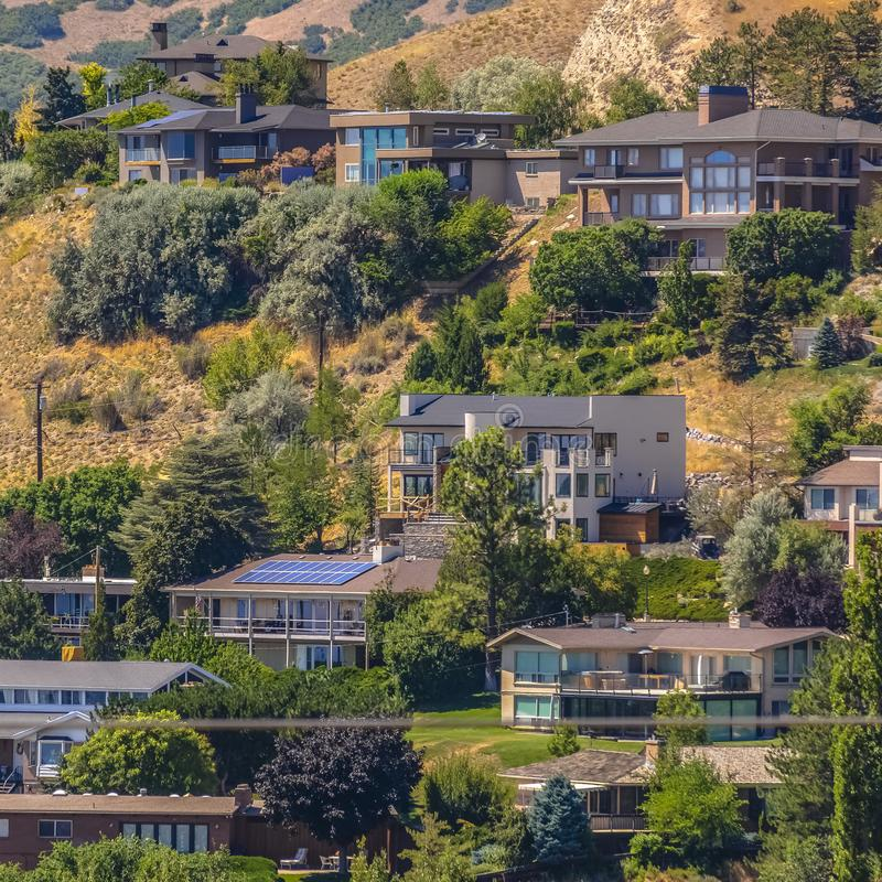 Salt Lake City Utah Houses: Downtown Salt Lake City Hillside Landscape Stock Image