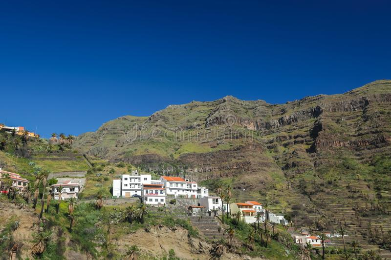 Hillside homes in the Valle Gran Rey royalty free stock photos