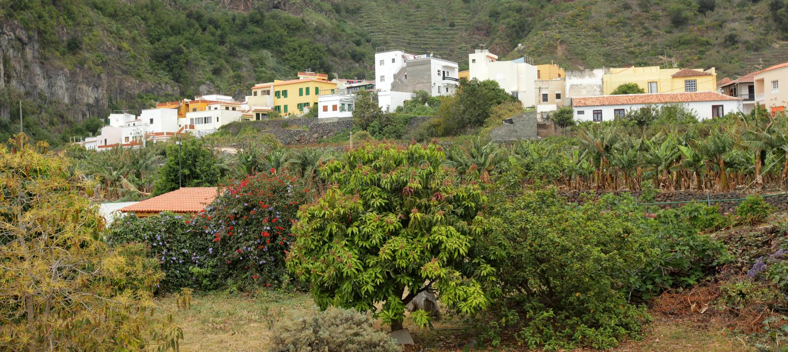 Hillside homes in Vallehermoso royalty free stock photography