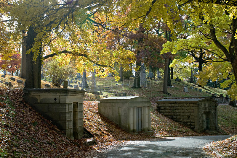 Download Hillside Mausoleums In Fall Royalty Free Stock Image - Image: 11564026