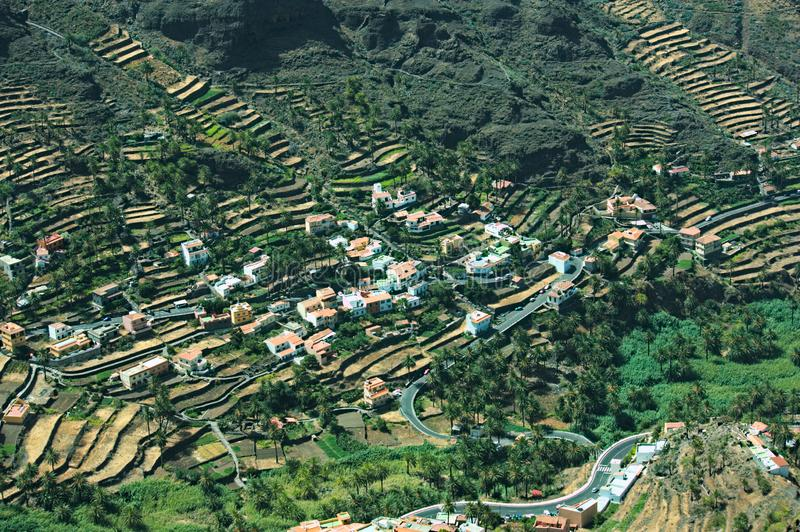 Hillside of the mountain full of terraces in La Gomera. Views from the mountainside road in Valle Gran Rey on the island of La Gomera, in the Canary Islands stock image