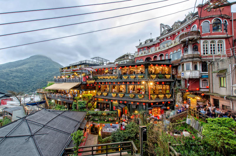 Hillside tea houses in Jiufen Taiwan stock images