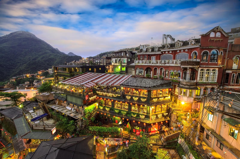 Hillside teahouses in Jiufen, Taiwan. royalty free stock photography